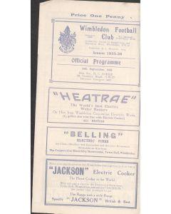 Wimbeldon v Nunhead 18/09/1935 Offiical Programme