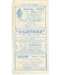Wimbledon v St Albans City 29/04/1931 Football Programme