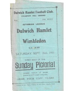 Dulwich Hamlet v Wimbledon 26/9/1931 Programme - Torn after page 1 and 2