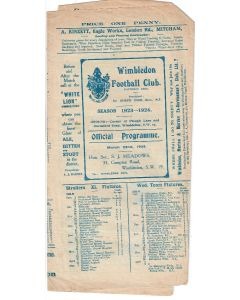 Wimbledon V Civil Service Official Programme 22/3/1924