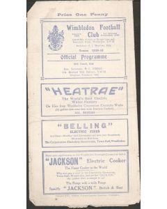 Rare War League Official Programme Wimbledon v Sutton United 16/3/1940