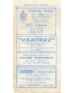 Wimbledon v Dulwich Hamlet LCC 29/9/1934 Official Programme