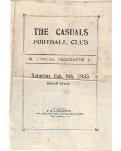 The Casuals v Wimbledon 9/2/1935 Official Programme