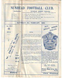 Nunhead v Wimbledon SSC 2nd Round 11/2/1933 Offical Programme