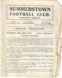 Summerstown v Southall 20/3/1926 Official Programme