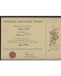 Football Managers Award given to Terry Neill, Manager of Arsenal in April 1980
