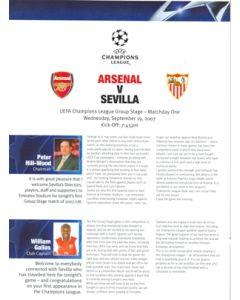 Arsenal v Sevilla press pack 19/09/2007