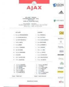 Ajax V Chelsea Teamsheet 23/07/2010 Official Directors Issue