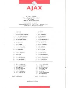 ajax v chelsea 2010 football teamsheet