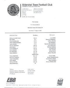 Aldershot Town v Chelsea XI teamsheet 01/08/2009