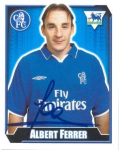 Albert Ferrer Premier League 2003 Sticker with Printed Signature
