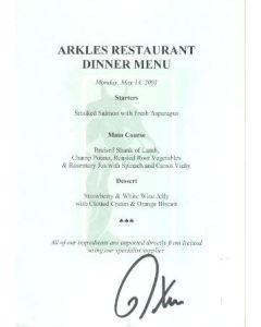 Arkles Restaurant Dinner Signed Menu 14/05/2001