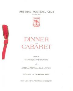 Arsenal - Dinner & Cabaret to The Honorary Stewards of Arsenal FC menu 01/12/1975