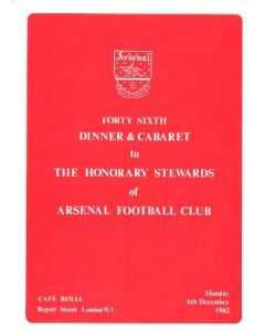Arsenal - 46th Dinner & Cabaret to The Honorary Stewards of Arsenal FC menu 06/12/1982