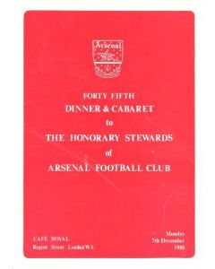 Arsenal - 45th Dinner & Cabaret to The Honorary Stewards of Arsenal FC menu 07/12/1981