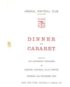 Arsenal - Dinner & Cabaret to The Honorary Stewards of Arsenal FC menu with ribbon 27/11/1972