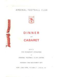 Arsenal - Dinner & Cabaret to The Honorary Stewards of Arsenal FC menu with ribbon 29/11/1971