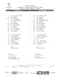 Arsenal v Alkmaar teamsheet 04/11/2009 Champions League