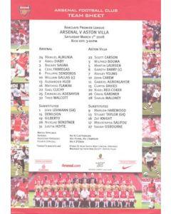 Arsenal v Aston Villa official colour teamsheet 01/03/2008 Premier League