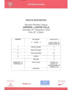 Arsenal v Aston Villa colour printed match statistics 15/11/2008 Premier League