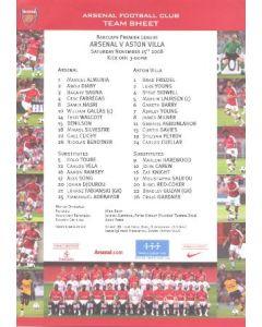 Arsenal v Aston Villa colour printed teamsheet 15/11/2008 Premier League