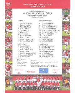 Arsenal v Blackburn Rovers official colour printed teamsheet 14/03/2009