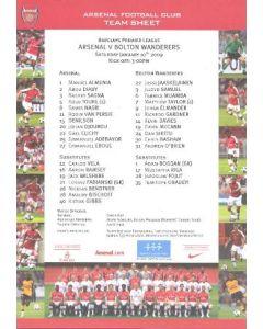 Arsenal v Bolton Wanderers official colour printed teamsheet 10/01/2009