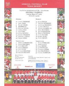 Arsenal v Burnley official colour printed teamsheet 08/03/2009