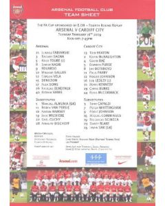 Arsenal v Cardiff City official colour printed teamsheet 16/02/2009