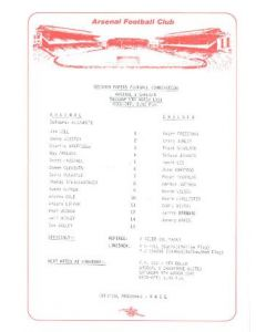 Arsenal v Chelsea official teamsheet 05/03/1991 Reserves