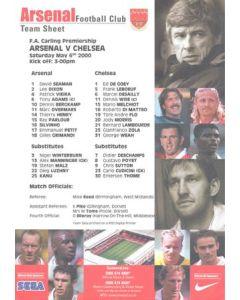 Arsenal v Chelsea official colour teamsheet 06/05/2000 Premier League