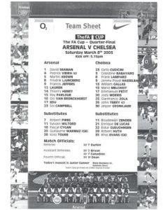 Arsenal v Chelsea official black & white teamsheet 08/03/2003 F.A. Cup Quarter-Final