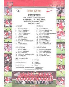 Arsenal v Chelsea official colour teamsheet 08/03/2003 F.A. Cup Quarter-Final