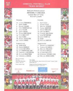 Arsenal v Chelsea official colour printed teamsheet 10/05/2009