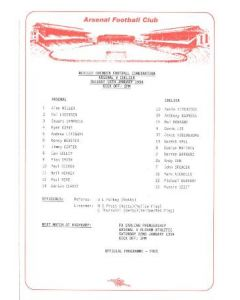 Arsenal v Chelsea official teamsheet 18/01/1994 Reserves