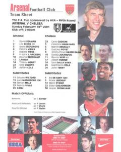 Arsenal v Chelsea official colour teamsheet 18/02/2001 F.A. Cup