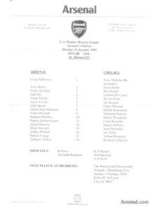 Arsenal v Chelsea official teamsheet 26/01/2004 F.A. Premier Reserve League