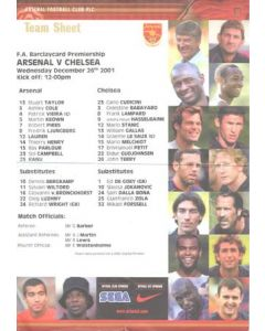 Arsenal v Chelsea official colour teamsheet 26/12/2001 Premier League