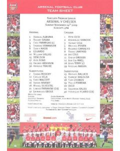 Arsenal v Chelsea teamsheet 29/11/2009