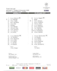 Arsenal v Dynamo Kyiv colour printed teamsheet 25/11/2008 Champions League