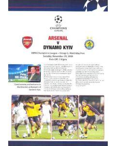 Arsenal v Dynamo Kyiv Arsenal produced press pack 25/11/2008