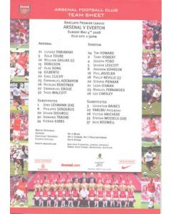 Arsenal v Everton official colour teamsheet 04/05/2008 Premier League
