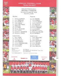 Arsenal v Everton colour printed teamsheet 18/10/2008 Premier League