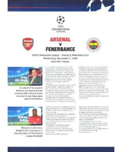 Arsenal v Fenerbahce Arsenal produced press pack 05/11/2008