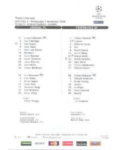 Arsenal v Fenerbahce colour printed teamsheet 05/11/2008 Champions League