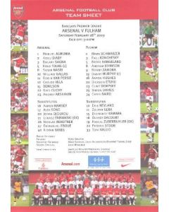 Arsenal v Fulham official colour printed teamsheet 28/02/2009