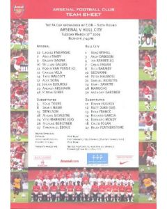 Arsenal v Hull City official colour printed teamsheet 17/03/2009
