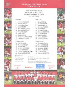 Arsenal v Hull City colour printed teamsheet 27/09/2008 Premier League