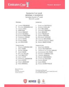 Arsenal v Juventus official colour teamsheet 02/08/2008 Emirates Cup