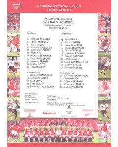 Arsenal v Liverpool official colour teamsheet 05/04/2008 Premier League